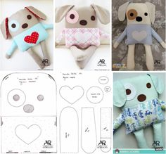 Sewing Toys, Sewing Crafts, Sewing Projects, Dog Cushions, Diy Pillows, Fabric Toys, Fabric Scraps, Old Baby Clothes, Felt Doll Patterns