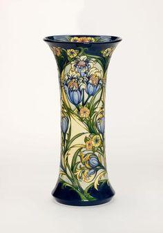 Blue Tulip Vase 159/18 - Rachel Bishop for Moorcroft Pottery - Treeby & Bolton