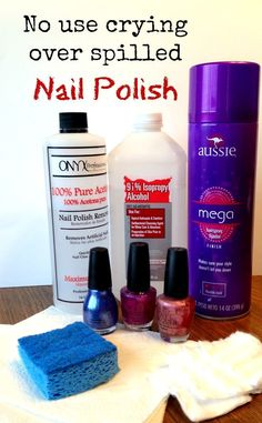 I never knew I could get rid of spilled nail polish this easily! Easy ways to remove nail polish from the carpet, clothes and wood! Nail Polish On Carpet, Nail Polish Stain, Nail Polish Spill, Clean Nails, Get Nails, Hair And Nails, Diy Cleaning Products, Cleaning Hacks, Cleaning