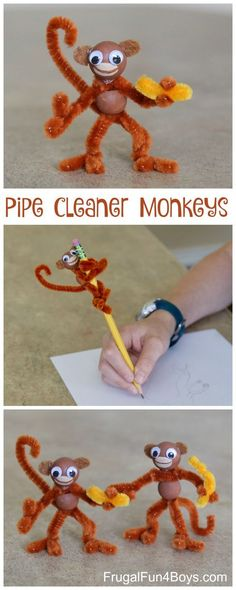 Kids' Craft: Pipe Cleaner Monkeys! Pipe cleaners, wooden beads, googly eyes. Love how posable they are. #artsandcraftsforkids,