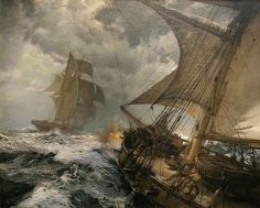 """art-and-things-of-beauty: """" Life at sea painted by Montague Dawson [British Painter, 1895-1973] """""""