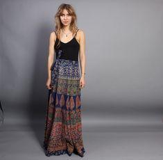 vintage 70s maxi indian cotton wrap skirt - elephants, birds! xo