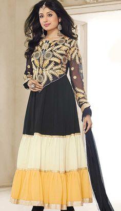 Select the Bollywood Latest Black Georgette #Anarkali Dresses Online  #Price INR- 2625 Link- http://alturl.com/mpsxf