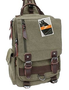 Leaper Vintage Canvas Messenger Sling Bag Outdoor Bauchtasche Unisex Umhängetasche (Large,Armeegrün) - http://herrentaschenkaufen.de/leaper/armeegruen-large-leaper-vintage-canvas-rucksack