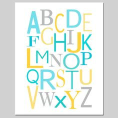Modern Alphabet - 11 x 14 - Perfect for Nursery or Playroom - Blue, Aqua, Gray, Yellow, and More. $25.00, via Etsy.