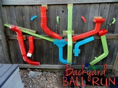 DIY Ball Run made out of guttering. Perfect for the backyard! by della