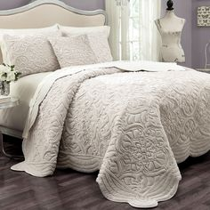 Create a luxury retreat in your bedroom with the Vue Signature Plush Decor Charlotte 3 Piece Coverlet Set . This plush coverlet set features intricate. Beautiful Bedding Sets, Beautiful Bedrooms, Beautiful Beds, Coverlet Bedding, Comforter Sets, Ivory Bedding, White Coverlet, Fur Bedding, Vintage Bedding