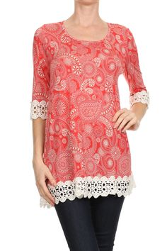 Find this coral crochet trimmed tunic at J. Nicole. Perfect with leggings or skinny jeans.