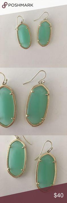 "Kendra Scott Elle Earrings Chalcedony Like brand new! • 14K Gold Plated Over Brass • Size: 1.44""L x 0.69""W on earwire • Material: chalcedony translucent glass Kendra Scott Jewelry Earrings"