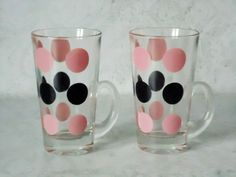 Retro Fire King Pink and Black Polka Dots