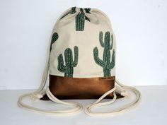 Turnbeutel - noon-moon bag M - Kaktus - Rucksack Turnbeutel - ein Designerstück von noon-moon bei DaWanda