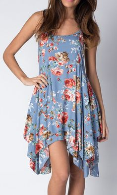 Paradise USA Fashion Blue Floral Handkerchief Dress