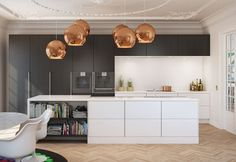 / offen und geschlossene Flächen / Herd im rückwertigen Bereich / dekorative Leuchten über Kücheninsel