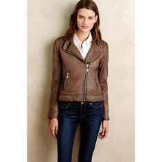 Doma Washed Leather Moto Jacket ($983) ❤ liked on Polyvore featuring outerwear, jackets, brown, doma jacket and doma