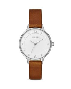 Skagen Anita Leather Strap Watch, 30mm | Bloomingdale's