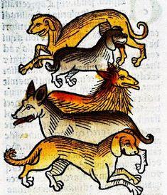 Dogs from the Middle Ages      Vers 1495. Carreau du palais d'Isabelle d'Este à Mantoue.       Regnault de Montauban, rédaction en prose....