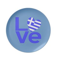 Greece in Love Party Plates -- perfect for an Ohi (oxi) Day party! The word love in blue with a heart shaped Greek flag for the O. Greek Flag, Go Greek, Greek Life, Greek Culture, Paper Artwork, Greek Words, Party Plates, Greek Islands, Cool Stuff
