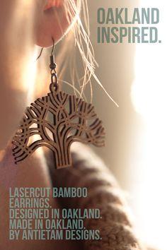 ANTIETAM DESIGNS: Lasercut Bamboo Earrings. Designed in Oakland. Made in Oakland.