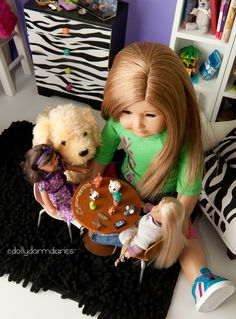 Dolly Dorm Diaries ~ Our American Girl doll, Christina, is playing with her dolls while Honey watches!