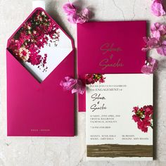 Dark pink invite with a pretty floral envelope liner and beautiful typography! // elegant wedding invitation cards with modern design calligraphy and floral envelope liners Shine Wedding Invitations, Wedding Invitation Card Design, Watercolor Wedding Invitations, Wedding Stationery, Indian Wedding Invitation Cards, Invitation Text, Pink Invitations, Floral Invitation, Invitation Ideas