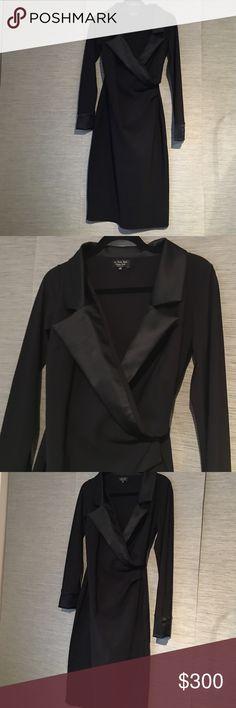 BRAND NEW CHIARA BONI LE PETITE ROBE Silk and satin black dress size 10 (46 Italian) chiara boni Dresses