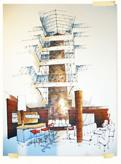 Interior Sketches and Hand Rendered Marker Visuals by Richard Chadwick