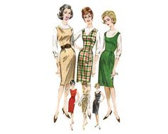 Perfect wardrobe builder - sleeveless, semi-fitted, jumper pattern with neck variations - 1960s Complete Original Butterick Pattern #2434