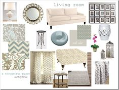 This has to be one of my favorite mood boards that I've seen for a living room.  So classy!  So warm and inviting!