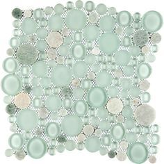 Emser Tile Lucente 12 x 12 Glass Stone Blend Circle Mosaic Tile in Lazzaro