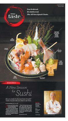 A New Season for Sushi Epoch Taste #Japanese #Food #newspaper #editorialdesign