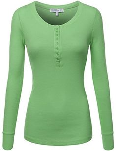 FPT Womens Long Sleeve Crewneck Thermal Henley T-Shirt