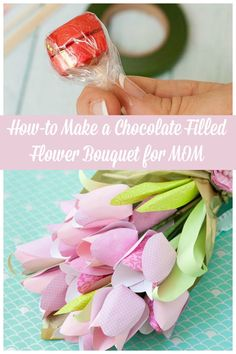 Make a beautiful paper tulip bouquet for Mom filled with chocolates!
