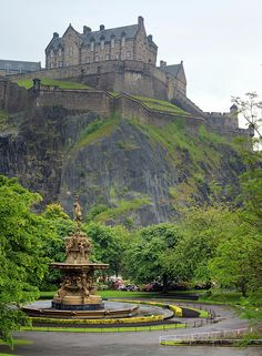 Edinburgh Castle grounds beyond Princes Street Gardens, Edinburgh, Scotland