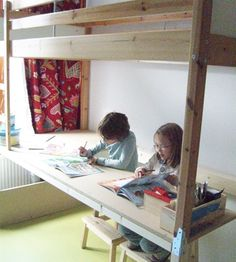 bunk bed/loft bed art table — kokokoKIDS: Kids Craft Area and Art Supplies Organization