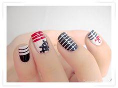 Navy blue nail art design