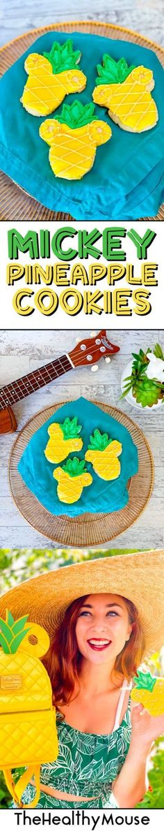 Celebrate summertime with these tropical sugar cookies! Pineapple cookies topped with Mickey ears are the perfect Disney summer treat! Disney Home, Disney Diy, Disney Crafts, Disney Family, No Flour Cookies, Sugar Cookies, Pineapple Cookies, Yellow Food Coloring, Disney Cookies
