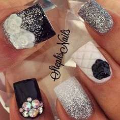 #black#white#silverglitter#quiltednail#blacknails#crystals#crystcluster#glamnail#whiteflowers#cutenails#fallcolors#neutrals#fallnails#love