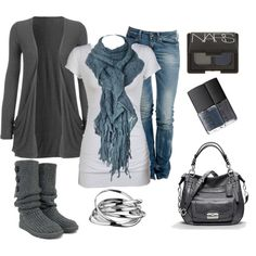 Outfit gray and blue for fall
