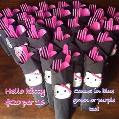 Print Hello Kitty cut outs, tape black napkins, stuffed with pink cutlery closed with cut out.