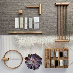For a truly textured look, try blending natural wood, concrete finishes and suede or velvet finish wall paints. Add to the composition by opting for furry bath mats or cushions, marble counter tops and brushed bronze bathroom accessories. Luxury Interior Design, Bathroom Interior Design, Interior Styling, Interior Decorating, Pantone, Bronze Bathroom Accessories, Casa Milano, Mood Board Interior, Material Board