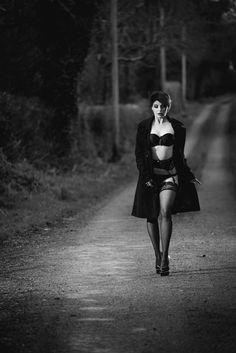 Photo by Colm Edwards, Dublin 216 Model Marta Misiak  #sensual #womeninblack #sexy #women #lingerie #coat #outside #covernude #stockings #hightheels #legs #martamisiak