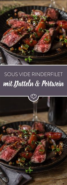 Sous Vide Rinderfilet – Mit Datteln, Mandeln und Sherry-Reduktion You are looking for an autumn dish? How about a sous vide-cooked beef fillet with dates, almonds and coriander and a sherry reduction? Grilling Recipes, Meat Recipes, Dinner Recipes, Cooking Recipes, Healthy Recipes, Beef Fillet, Fall Dishes, Filets, Clean Eating Recipes