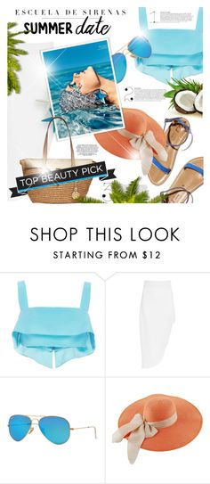 """Summer Date: The Beach"" by monazor ❤ liked on Polyvore featuring Cushnie Et Ochs, Ray-Ban, K. Jacques, Marc, MICHAEL Michael Kors, beach and summerdate"