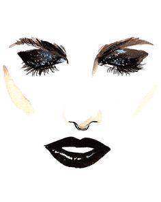 Regina Yazdi illustration - Blaquer lips on @langleyfox. New fall beauty inspiration from the ever talented @beautyisboring