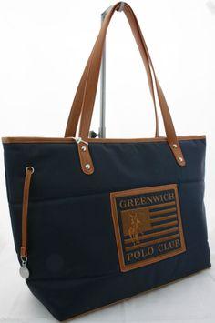 Borsa Shopping due manici Greenwich Polo Club Art.067-01D Grande colore Blu