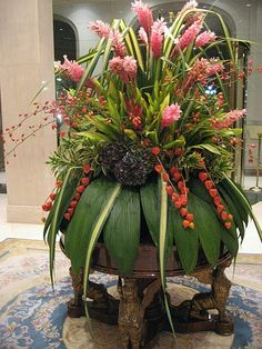 Ginormous flower arrangement in Barcelona hotel