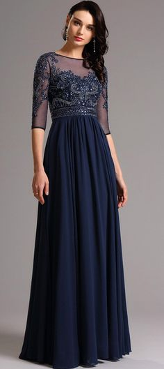 Half Sleeves Beaded Navy Blue Evening Dress Formal Gown