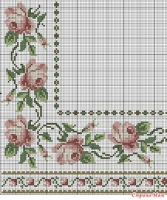 Really nice Cross-Stitch towel flowers patterns. 123 Cross Stitch, Cross Stitch Borders, Cross Stitch Flowers, Cross Stitch Charts, Cross Stitch Designs, Cross Stitching, Cross Stitch Embroidery, Embroidery Patterns, Hand Embroidery