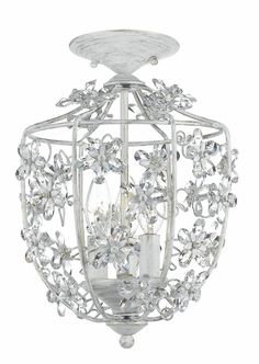 Antique White Wrought Iron Lantern with Hand Polished Crystals by Crystorama, Ceiling Fixtures, Lighting for Girls