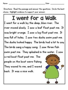 """This is a short one page passage with 4 questions that assess close reading and comprehension skills! Perfect for a """"Do Now"""" activity, end of lesson assessment, or homework! You are in the right place First Grade Reading Comprehension, Grade 1 Reading, Phonics Reading, Reading Comprehension Worksheets, Reading Passages, Teaching Reading, Comprehension Exercises, Reading Response, Guided Reading"""